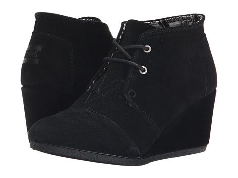 TOMS Desert Wedge Chocolate Brown Suede w/Shearling - Zappos.com Free Shipping BOTH Ways