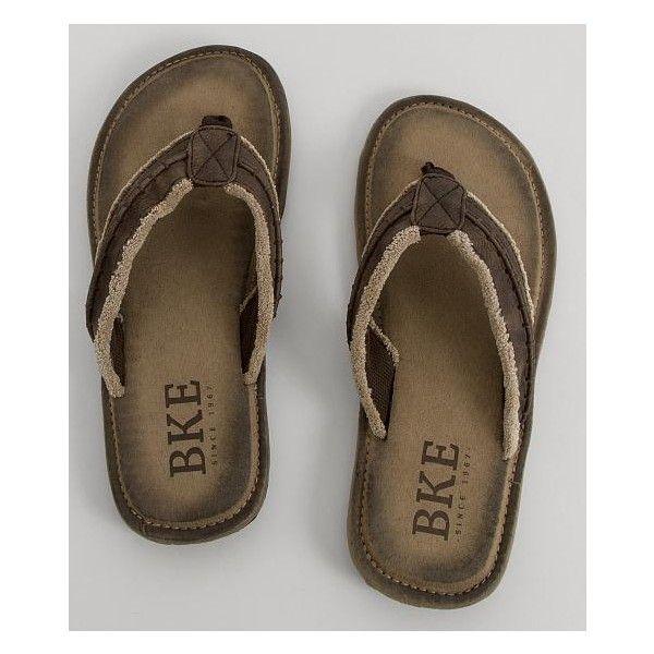 BKE Phin Flip ($40) ❤ liked on Polyvore featuring men's fashion, men's shoes, men's sandals, men's flip flops, brown, mens flip flop sandals, mens brown flip flops, mens brown leather sandals, mens sandals and mens flip flops