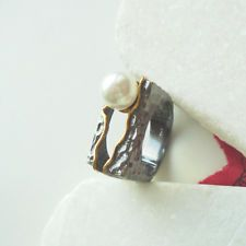 Perle weiß gold schwarz black Design Ring Ø 18,25 mm 925 Sterling Silber