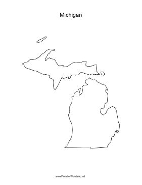 A blank map of the state of Michigan, oriented vertically and ideal for classroom or business use. Free to download and print