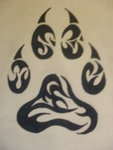 Tribal Wolf Paw Tattoo