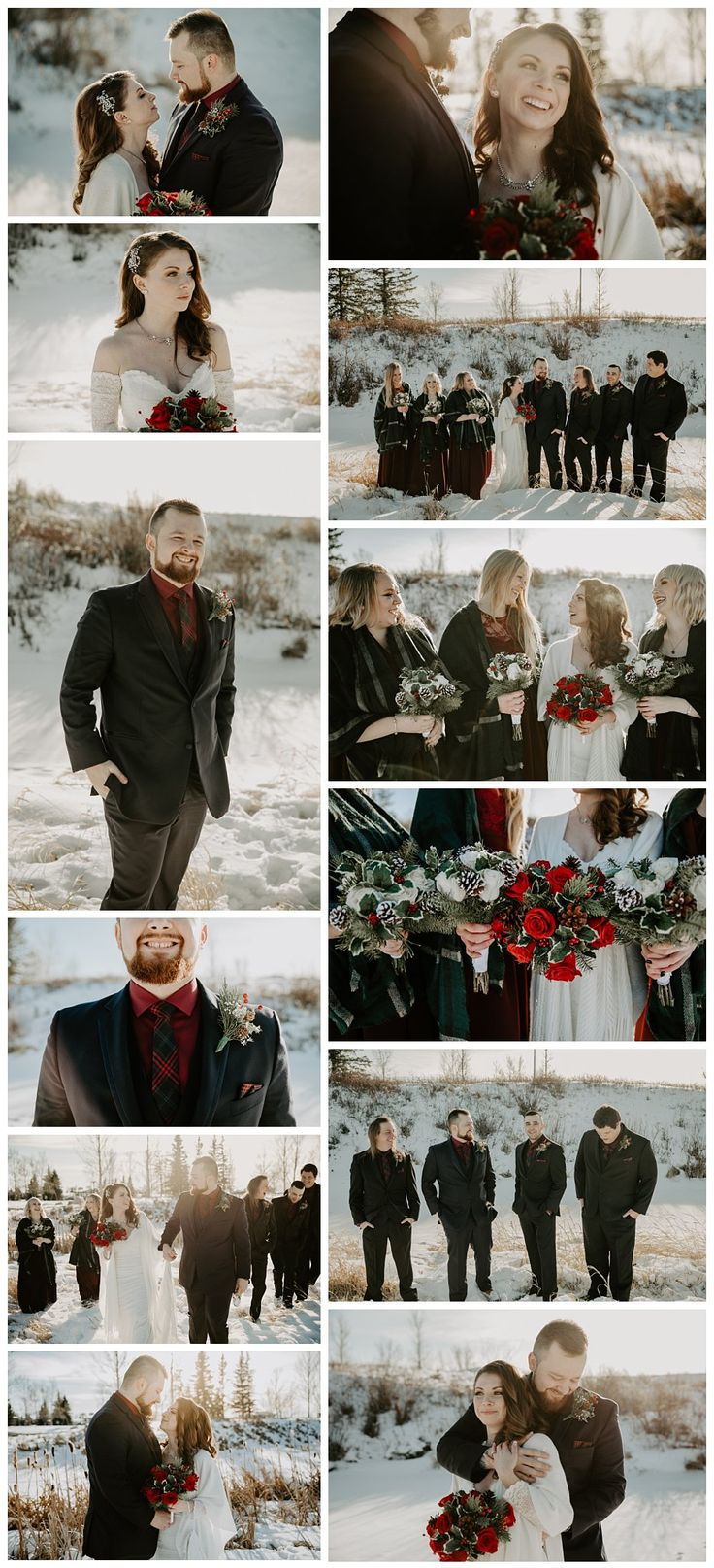 Winter wedding. Red and navy blue winter wedding. Winter wedding party colors