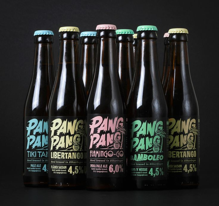 Packaging with custom lettering designed by Swedish design company Snask for microbrewery PangPang's 2014 summer beers.