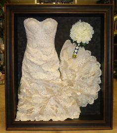 Shadow box wedding dress preservation
