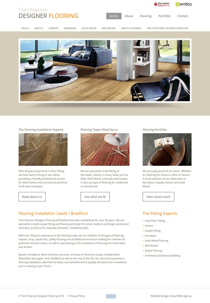 Website design for Tom Pearson Design Flooring, which is based in Bradford.  High-ranking site benefiting from our in-house SEO team.  http://www.designerflooring.biz/