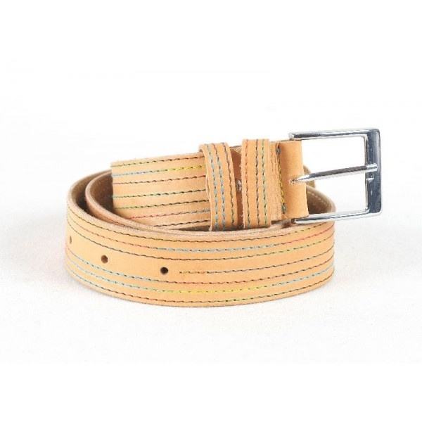 Leather belt with suede lining, decorated with color stitching, 40 mm width.