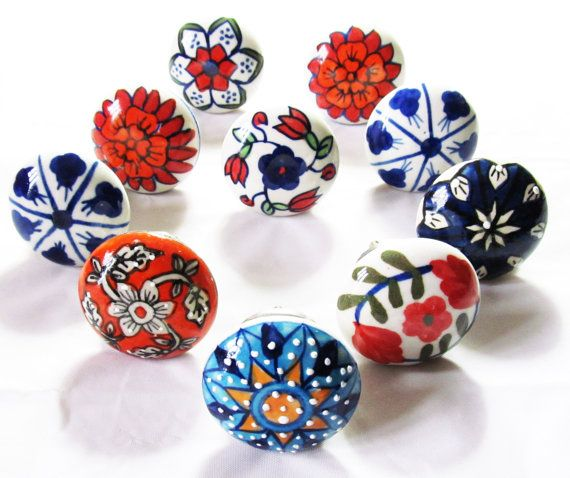 10 x Vintage Look French Style Ceramic Knobs Door Knob Handle Cabinet Kitchen Furniture Cupboard Drawer Pull