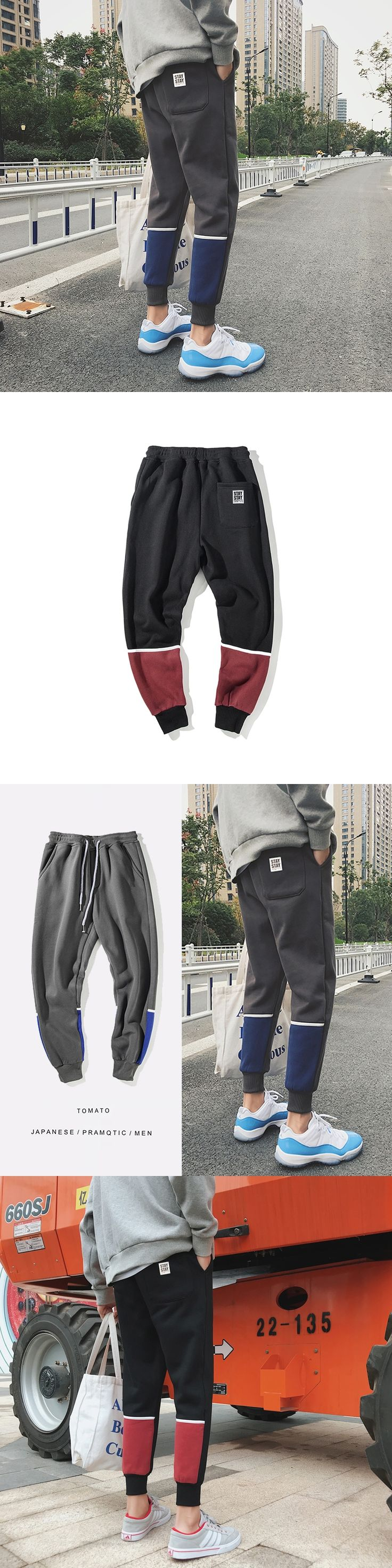New Arrive 2017 Autumn Winter Increase Velvet Youth Campus Pants Hit Color Split Joint Leisure Ankle Banded Pantalon Hombre