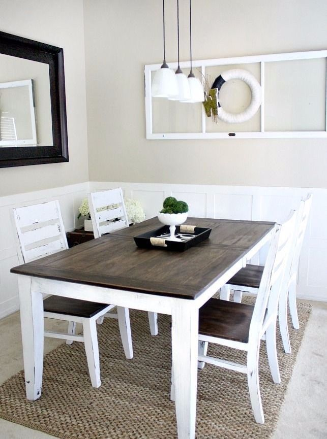 Two Tone Farmhouse Dining Table Dining Table Makeover