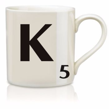 Scrabble Mug K: Scrabble mugs – collect the set for when you have 25 friends round for tea.