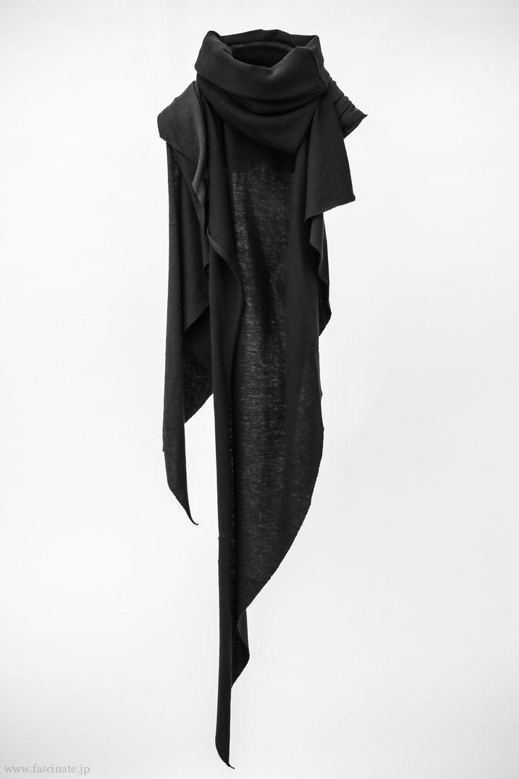 black cotton & cashmere neck wrap shawl <3
