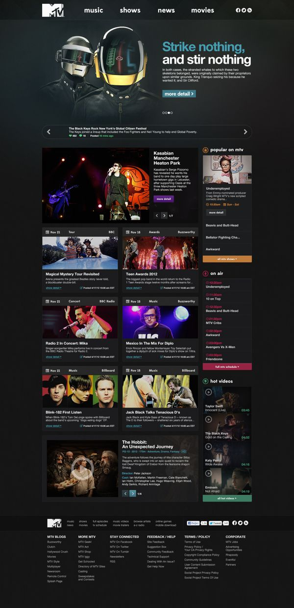 MTV.com Redesign CONCEPT by Oğuz Atılan, via Behance - If anything these concepts / redesign suggestions give a window into what if we did this...