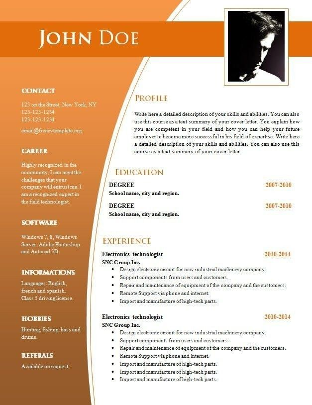 Resume Template Microsoft Word 2014 from i.pinimg.com