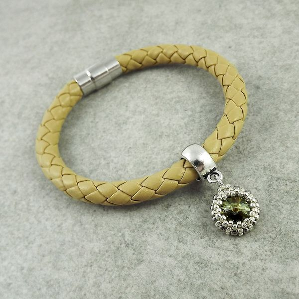 Charm Bracelets – Magnetic Leather Cord Bracelet - Beige – a unique product by TarragonArt on DaWanda