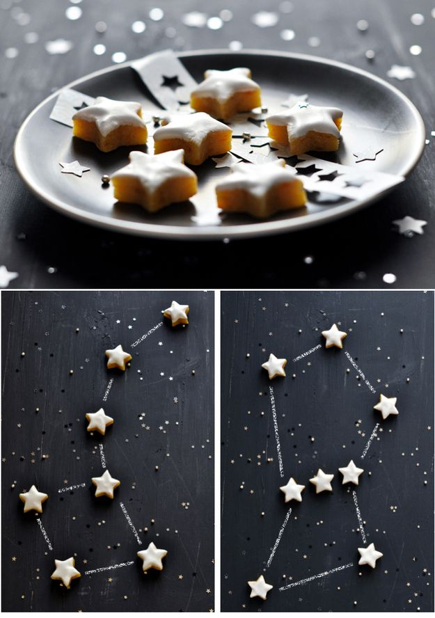 """Make a constellation cookie tray. (""""Paint a tray with chalkboard paint and serve with star-shaped cookies."""")"""
