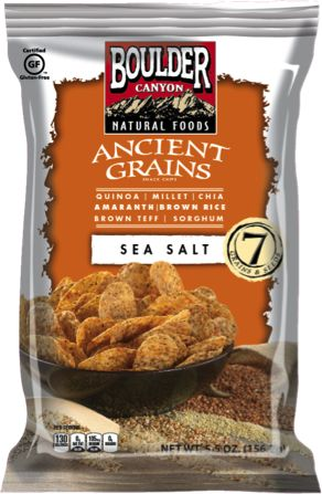 love these!!! Boulder Canyon Ancient Grains™ snack chips feature a combination of seven grains and seeds including quinoa, millet, chia, amaranth, brown rice, brown teff and sorghum. It's a hearty, tasty chip that provides 10 grams of whole grains with each serving.