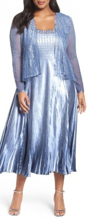 Plus Size Women's Komarov Lace Trim Charmeuse & Chiffon Jacket Dress, Size 3X - Blue
