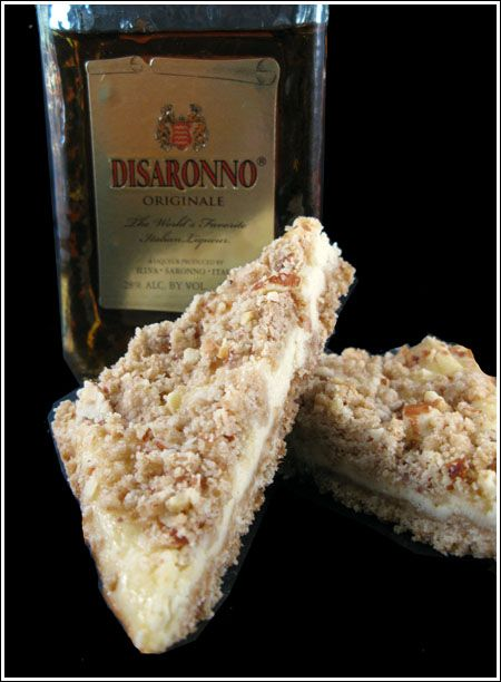 If you don't want an whole Amaretto cheesecake, make these bars instead.        Amaretto Cheesecake Bars    1 cup all-purpose flour   1/3 cup brown sugar -- packed   6 tablespoons unsalted butter -- softened   1/4 teaspoon salt  8 oz cream cheese, so