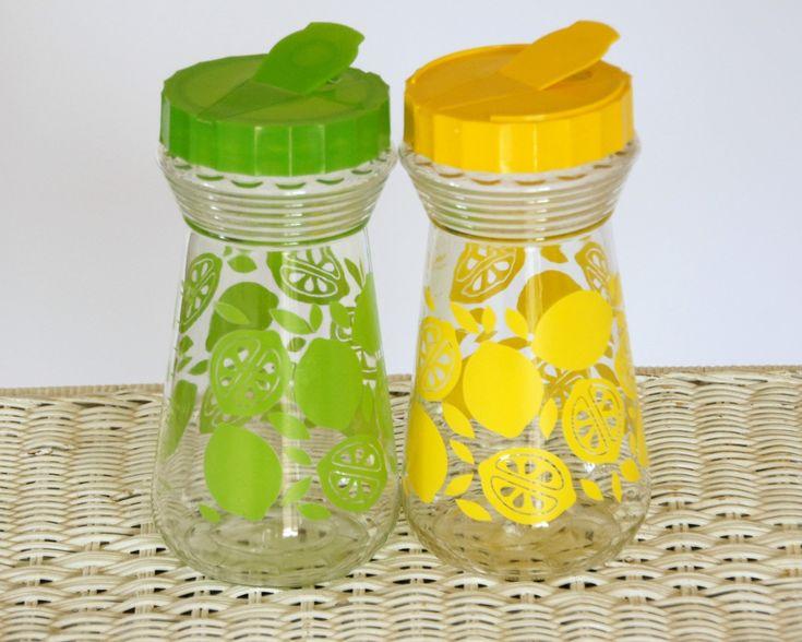 vintage glass pitchers carafes with lids lime green lemon yellow lemonade pitchers fruit on kitchen decor pitchers carafes id=55095