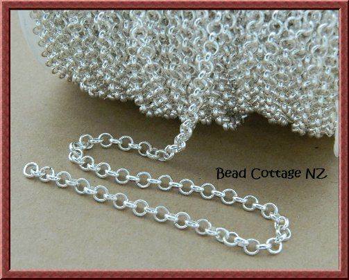 Rolo Chain 4mm Link x 1 meter Bright Silver