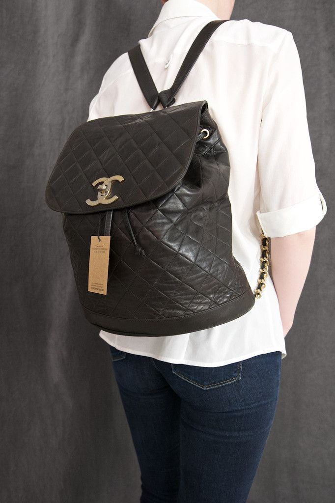 Chanel Black Quilted Lambskin Large CC Backpack