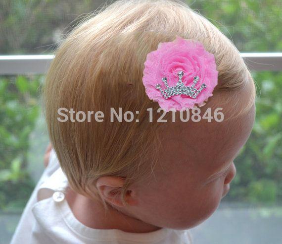 Mini потертый потёртый цветы клип горный хрусталь тиара корона шифоновая ткань чародей волосы accessories18pcs / много