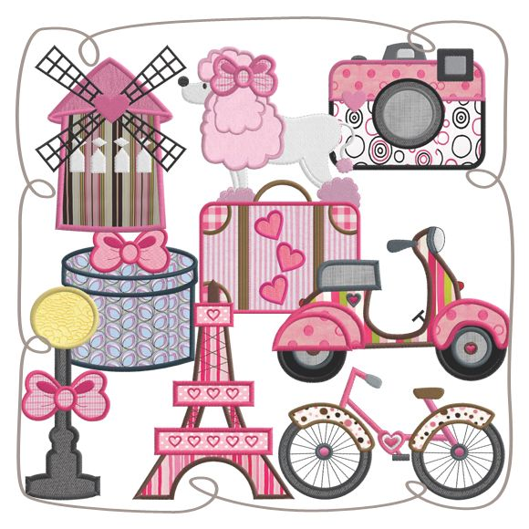 French Flair Applique Machine Embroidery Design Pattern-INSTANT DOWNLOAD