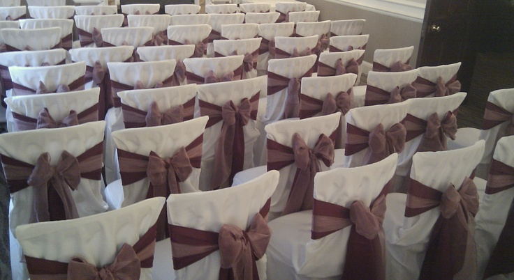 Double Matt Burgundy and Dusky Pink Organza on White Chair Covers