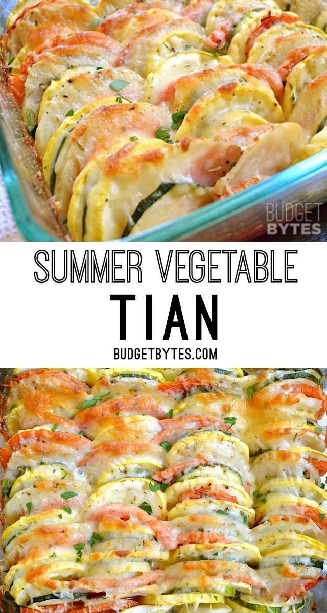 Summer Vegetable Tian combines thinly sliced roasted vegetables, savory herbs, and creamy cheese. @budgetbytes