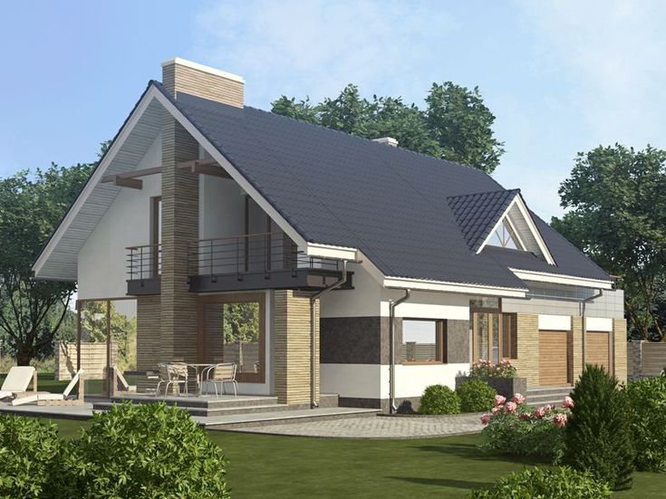 Фасады здания / Проект мансардного дома «D507»