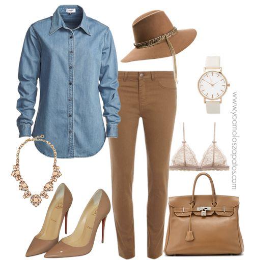 #look combinado con camisa de jean! Un básico que no te puede faltar en el placard! <3 <3 #pants #jean #bag #fashion #stilettos www.yoamoloszapatos.com   Yo Amo los Zapatos