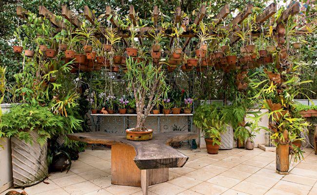 O pergolado possui mourões de eucalipto tratado. Mais de cem vasos de barro ficam suspensos por ganchos presos à estrutura