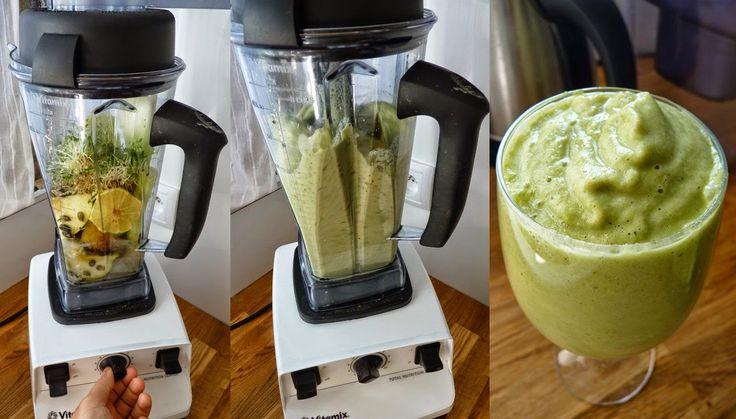 Zielone koktajle: jabłko + seler + cytryna + kiełki + daktyle + pestki dyni