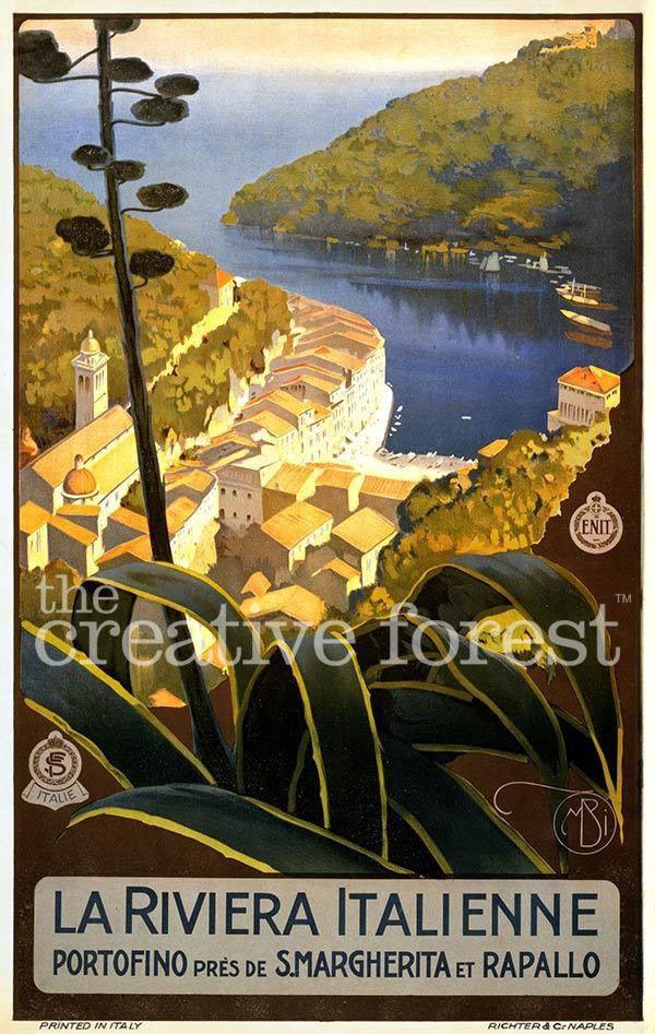 LA RIVIERA ITALIENNE 1920 Vintage Italian Travel Poster CANVAS PRINT 24x36 in. #Vintage