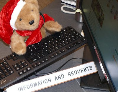 Christmas Adventures of Bing the Library Bear #10. Bing at the information desk