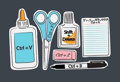 CTRL + V = Paste    CTRL + X = Cut    Shift + Delete =   Deletes a file   CTRL + Z = Undo   CTRL + B = Bold   CTRL + N = New        Great visual reminders!