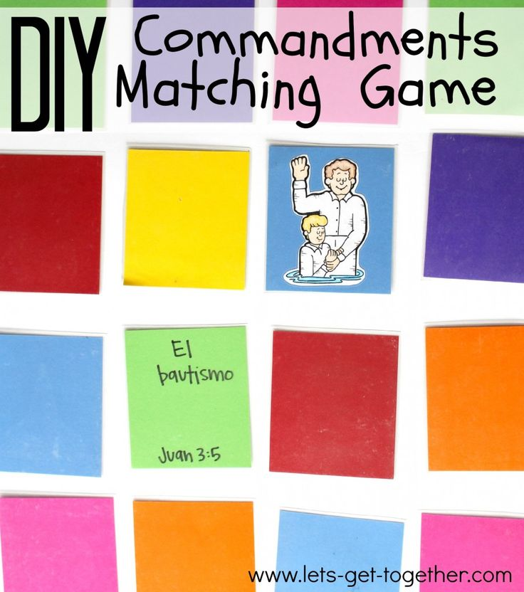 DIY Commandments Matching Game - perfect for a make and play FHE or to send to your missionary as a teaching tool. For the list of commandments and correlating scriptures and more instructions, read on! www.lets-get-together.com #missionarymail #lds #fhe