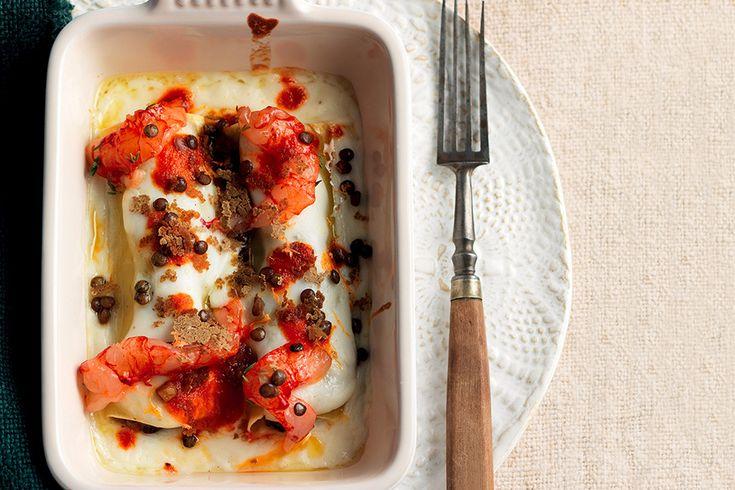 Cannelloni con gamberi e lenticchie