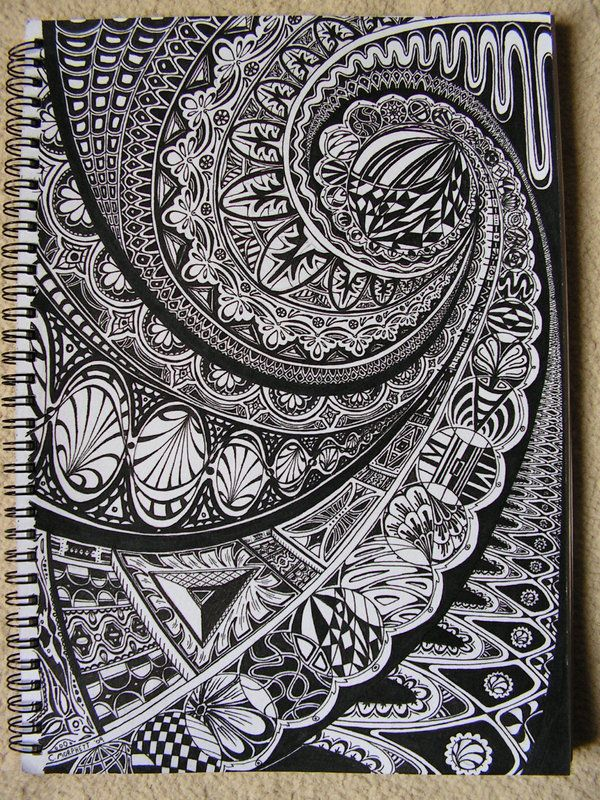 great handmade card ... black cardstock ... white doodling ...
