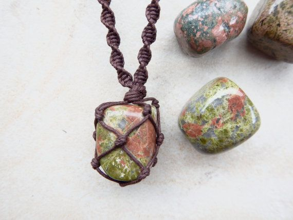 Healing Unakite Stone Macrame Wrapped Necklace.