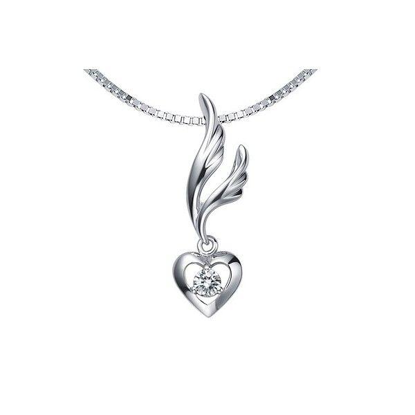 Heart on Wings Diamond Pendant on 10k White Gold