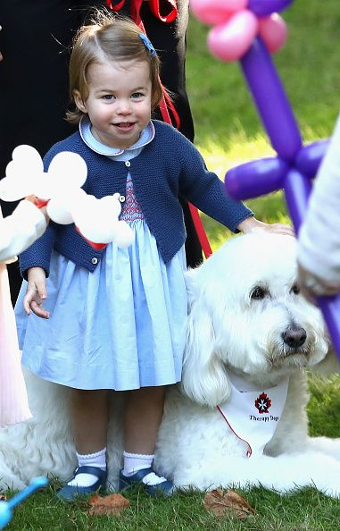 Princess Charlotte of Cambridge plays with a dog at a children's party for Military families during the Royal Tour of Canada on September 29, 2016 in Victoria, Canada