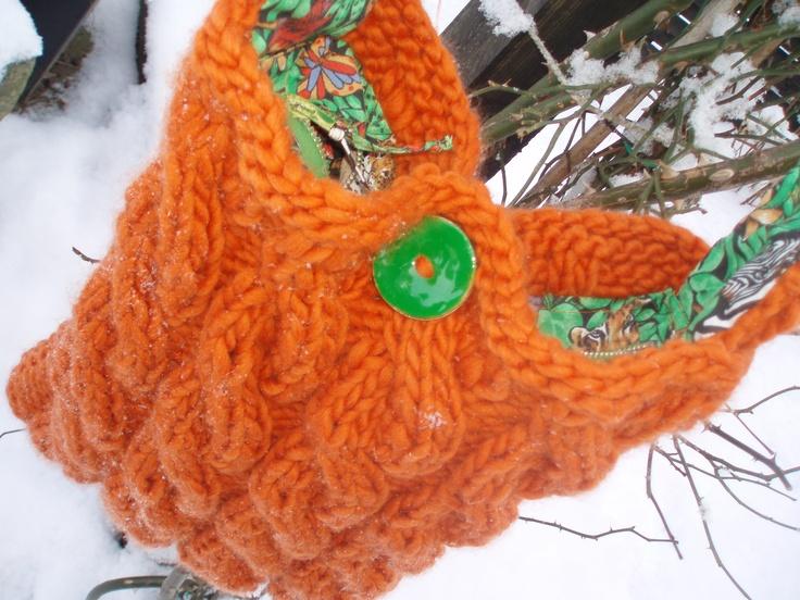 Orange strikket taske