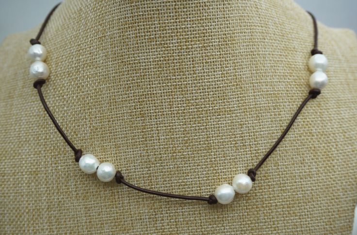 Long Freshwater Pearl and Leather Lariat Necklace,grey pearl necklace Light Brwon Leather Pearl necklace, Leather baroque pearl necklace by WenPearls on Etsy https://www.etsy.com/listing/218986947/long-freshwater-pearl-and-leather-lariat