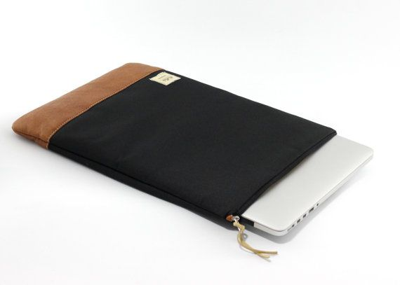 MacBook Air Sleeve in canvas and vegan leather, $34 | made in Camano Island, WA by MioMode on Etsy