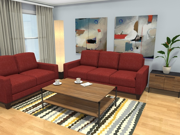 3d Floor Plan Featuring Darby Spice Sofas From Ashley