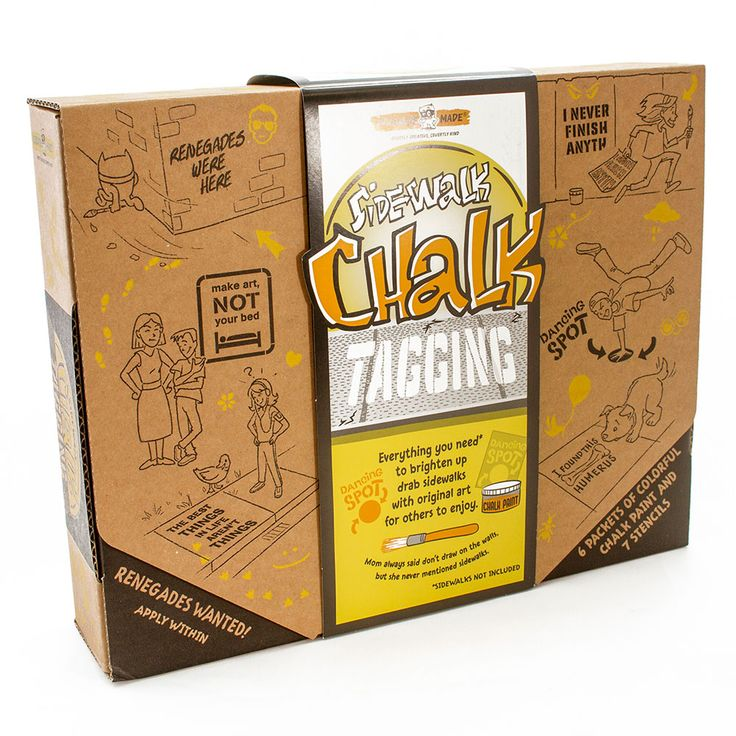 Sidewalk Chalk Tagging Kit and thousands more of the very best toys at Fat Brain Toys. Everything you need to become a famous graffiti artist while spreading words of joy and kindness to everyone is right in this box - Except for a