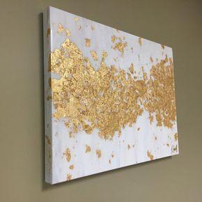 Pintura abstracta metálica con capa de resina arte de hoja de