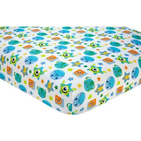So cute it's scary. Add a monsterific burst of color to your nursery with this sweet sheet featuring a fun pattern of Sulley, Mike, and all of your favorite Monsters, Inc. friends in blues, greens, and oranges. The fitted crib sheet fits a standard size crib mattress 28″ x 52″. 100% polyester microfiber for a soft touch. Coordinates with the Monsters on the Go nursery bedding and décor.