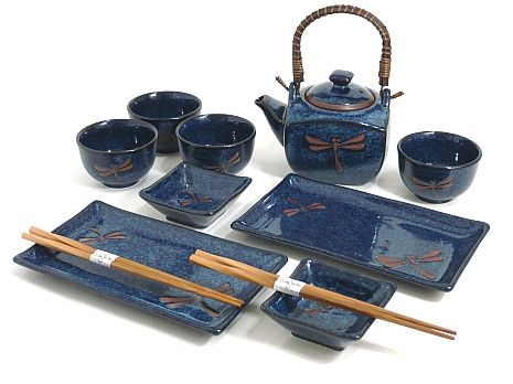 Sapphire Dragonfly Tea/Sushi Set - Unique Gift for Wedding, Birthday, or Anniversary